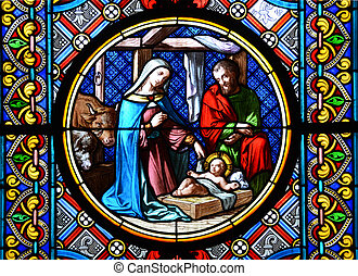 geboorte, scene., bevlekt glas raam, in, de, bazel,...