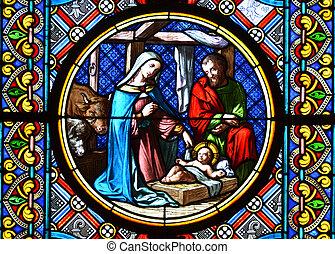 geboorte, scene., bevlekt glas raam