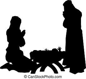 geboorte, silhouettes, scène