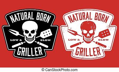 geboren, griller, natürlich, design, bbq
