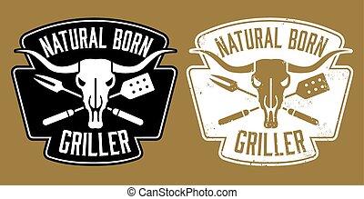 geboren, griller, natuurlijke , ontwerp, bbq