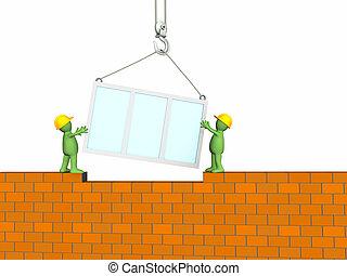 gebouw, aannemer, marionet, woning