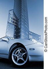 gebouw, afbeelding, kantoor, auto, moderne, voorkant, (toned, sportende, blue)