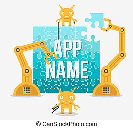 gebouw, app, idee, bouwterrein, realisatie, of