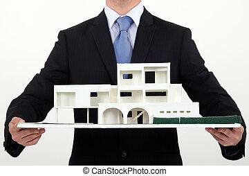gebouw, architect, schub, reproductie, vasthouden