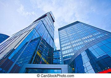 gebouw, avond, moderne, kantoor