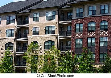 gebouw, baksteen, flat, stucco