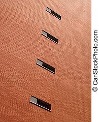 gebouw, baksteen, rood