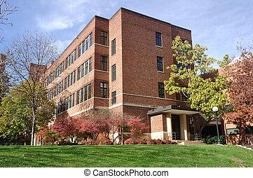 gebouw, baksteen, universiteit universiteitsterrein