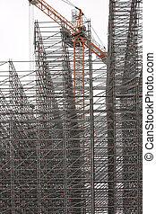 gebouw, balken, bouw, metaal