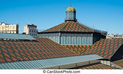 gebouw, barcelona, geboren, dak, markt