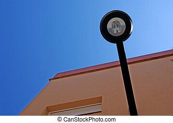 gebouw, bederven, licht, abstract, de, lloret, straat, corner., forms., spain.