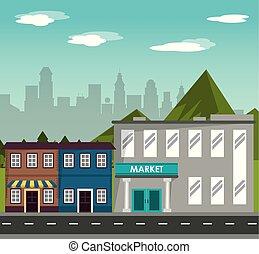 gebouw, berg, shoppen , stad, commercieel, straat,...