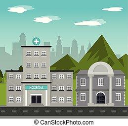 gebouw, bergen, stad, ziekenhuis, landscape, achtergrond,...