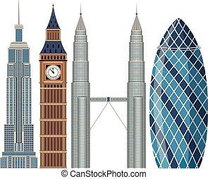 gebouw, beroemd, set, wereld