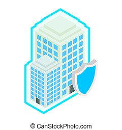 gebouw, beschermen, door, schild, pictogram, isometric, 3d