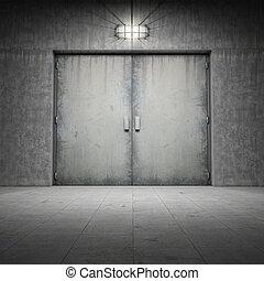 gebouw, beton, gemaakt, deur, ??of