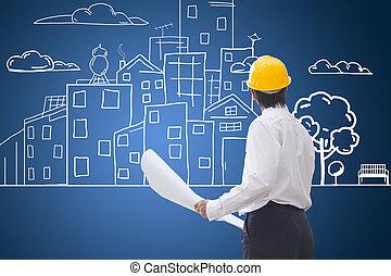 gebouw, blauwdruken, city., controleren, arbeider, hand, eco, bouwsector, conceptueel, tekening