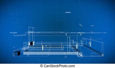 gebouw, blauwdruken, draad, 3d