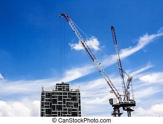 gebouw, blauwe , bouwsector, highrise, hemel