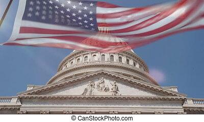 gebouw, blillowing, flag., washington, koepel, ons, dc, aanzicht, capitool