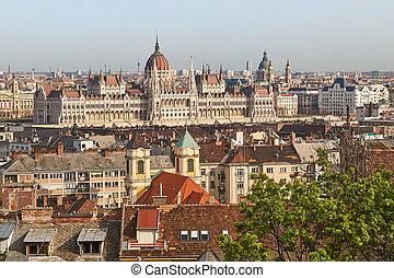 gebouw, boedapest, parlement, hongaars, daken, aanzicht