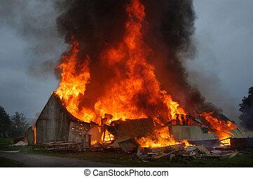 gebouw, branden
