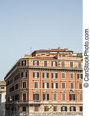 gebouw, bruine , flat, oud, rome, stucco