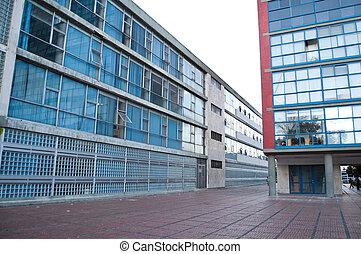 gebouw, campus, gang