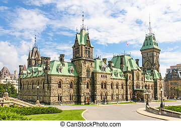 gebouw, canada, parlement, wederopleving, canadees, (gothic, ottawa, style)