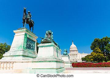 gebouw, capitool, congres, washington dc, zonlicht