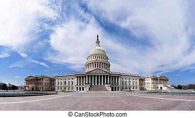 gebouw, -, capitool, de overheid van de v.s.