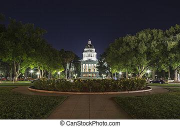 gebouw, capitool, staat, californië, nacht, aanzicht