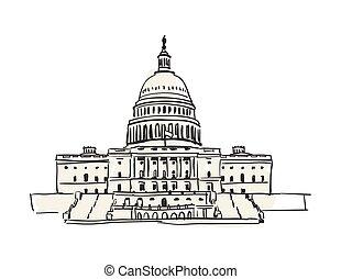 gebouw, capitool, usa, washington, hand, getrokken, pictogram