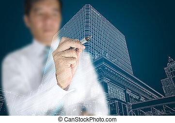 gebouw, cityscape, trekken, moderne, zakenman