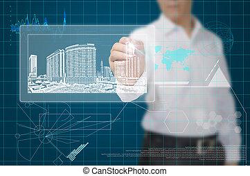 gebouw, cityscape, trekken, zakenmens