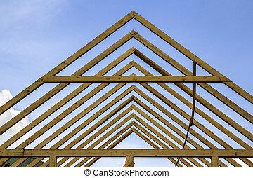 gebouw, close-up, natuurlijke , sky., van hout vensterraam, detail, tegen, hoog, helder, materialen, het ontwerpen, wederopbouw, onder, professioneel, dak, steil, concept., construction., hout