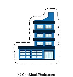 gebouw, collectief, spotprent, pictogram