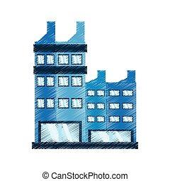 gebouw, collectief, tekening, pictogram