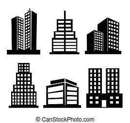 gebouw, commercieel, iconen