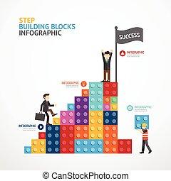 gebouw, concept, blokjes, illustratie, infographic, stap, vector, mal, spandoek