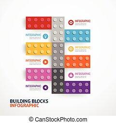 gebouw, concept, blokjes, illustratie, infographic, vector, mal, spandoek