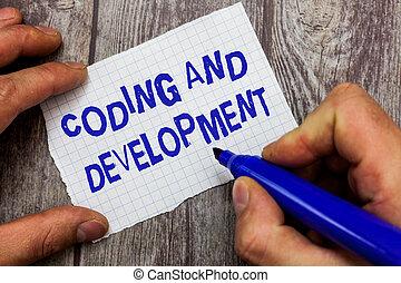 gebouw, development., vergadering, coderen, programma's, eenvoudig, tekst, programmering, schrijvende , betekenis, concept, handschrift