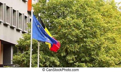 gebouw, duitser, nationale, bomen, vlag, achtergrond, duitsland, hollandse, vlaggen, europeaan