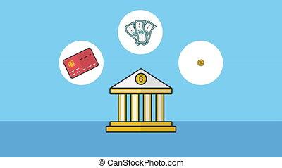gebouw, economie, bank, iconen