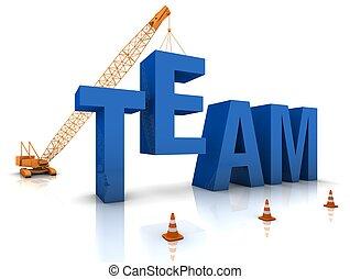 gebouw, een, team