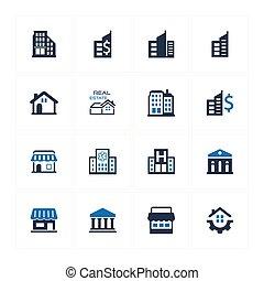 gebouw, en, bouwsector, iconen, -, blauwe , versie