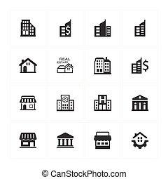 gebouw, en, bouwsector, iconen, -, grijs, versie