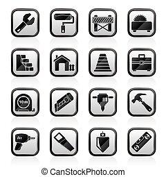 gebouw, en, bouwsector, iconen