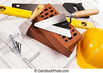 gebouw, en, het materiaal van de bouw